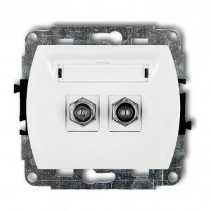 Karlik Trend GF-2 - Gniazdo antenowe SAT podwójne typu F, gniazdo niklowane - Biały - Podgląd zdjęcia producenta