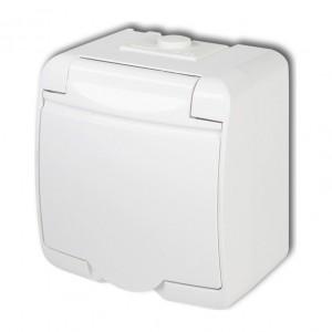 Karlik Junior GHE-1 - Gniazdow wtyczkowe pojedyncze z uziemieniem hermetyczne IP56 - Biały - Podgląd zdjęcia producenta