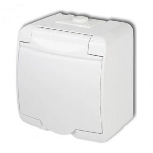 Karlik Junior GHE-1p - Gniazdow wtyczkowe pojedyncze z uziemieniem i przesłonami hermetyczne IP56 - Biały - Podgląd zdjęcia producenta