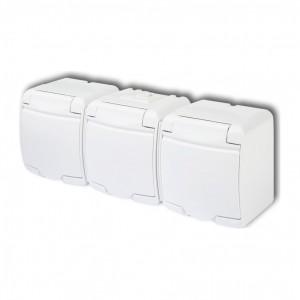 Karlik Junior GHE-3 - Gniazdow wtyczkowe potrójne z uziemieniem hermetyczne IP56 - Biały - Podgląd zdjęcia producenta
