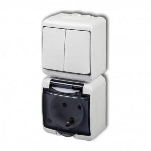Karlik Junior WGHP-2sd - Wyłącznik podwójny + Gniazdo pojedyncze z uziemieniem typu Schuko klapka dymna, montaż pionowy - Biały - Podgląd zdjęcia producenta