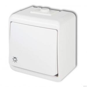 Karlik Junior WHE-5 - Przycisk zwierny z piktogramem światła hermetyczny IP56 - Biały - Podgląd zdjęcia producenta