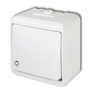 Karlik Junior WHE-5L - Przycisk zwierny z piktogramem światła hermetyczny z podświetleniem IP56 - Biały - Podgląd zdjęcia producenta